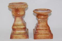 Lot of 2 Tuscan Style Candle Holders Brown Tan Square Base 5.5 and 7 in Tall