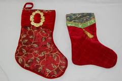 Lot of 2 Ornate Christmas Stockings Velour Cranberry Gold Green