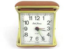 Vintage Seth Thomas Compact Folding Alarm Clock Brown In Case Brown