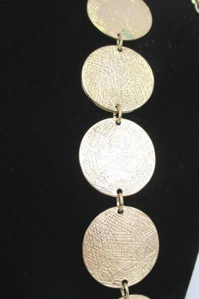 "39"" Necklace & Earrings Gold Tone Medallion Large Tear Shaped Floral"