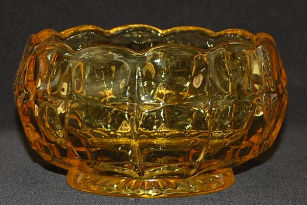 "Vintage Amber Glass 5"" Candy Bowl Pressed Glass Scallop Edge Square Star"