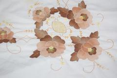 Vintage 60's Style Table Cloth Floral White Brown Embroidered Flowers Trim