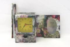 Desk Gift Set Purple Floral Pencil Clock Notebook Stationary Holder