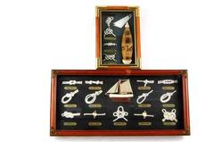 Lot of 2 Sailor Knot Shadow Box Wall Art Wooden Frame Gold Toned Trim Decor