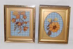 Lot of 2 Brass Shadowbox Frames Gingham Dried Flower Decorations 6in x 5in
