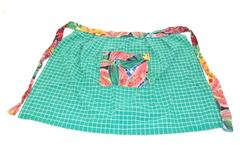 Plaid and Floral Tie Closure Apron Pocket Green White Plaid Unbranded