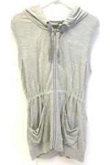 Athleta Sleeveless Full Zip Sweater Gray Women's Size XS Drawstring Pockets