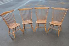 Set of 4 Antique Nichols & Stone Dining Chairs Brown Northern Hardwoods Armless