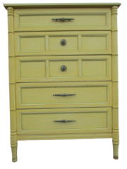 Antique Henredon Dresser Yellow Wood 5 Drawer Fine Furniture