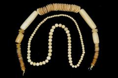 """Lot of 2 Vintage Bone Bead Necklaces 23"""" And 30"""" Unbranded"""