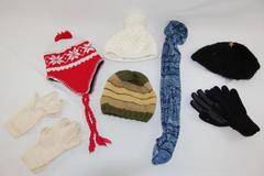 Lot of Women's Hats Scarf Scarves Beanies Gloves Black White Red Knit