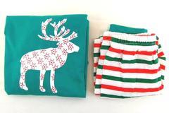 Christmas Pajama's Children's Unisex Size 4 Pants Top Striped Reindeer