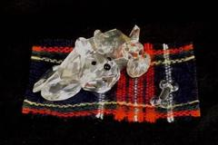 Crystal Dog With Flannel Blanket And Crystal Bone Figurine