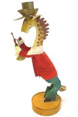 Vintage Silvestri Painted Metal Giraffe Taper Candle Holder 10.25 in