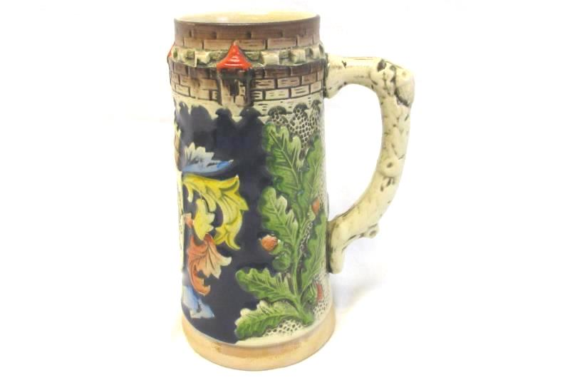 Vintage Ceramic Beer Stein From Belgium Hand Painted Armin Bay Coat Of Arms