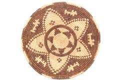 "Vintage Hand Woven Serving Basket Brown Tan Star Plate 13.25"""