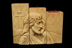 Oremus Mercy Holy Family 3 Piece Candle Set Crown of Thrones Ceramic Beige