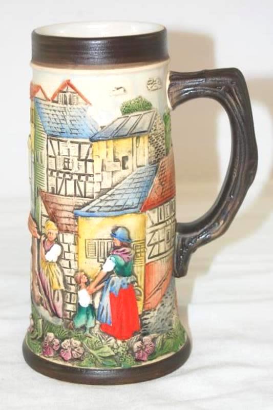 Vintage Ceramic Beer Stein From Belgium Village Scene Armin Bay