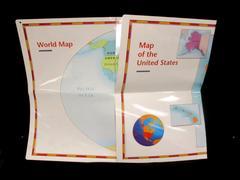 Lot 2 Houghton Mifflin Pre K Large Wall Maps Double Side World USA Neighborhood