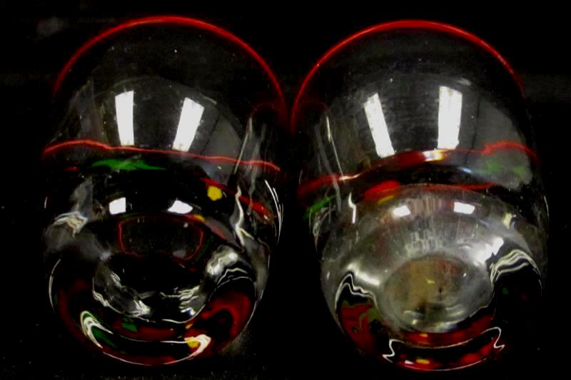 Set of 2 Vintage Libbey Studebaker Shot Glasses Horse Carriage Red