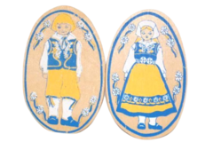 2 Vintage Hand Painted Oval Wood Magnets With A Swedish Boy And Girl