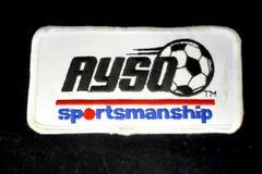 "Ayso Soccer Sportsmanship White Rectangle Shaped Patch 2"" x 4"" Soccer Sports"