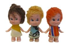 Lot of 3 Vintage Plastic Dolls With Rooted Hair Blonde Brown Orange