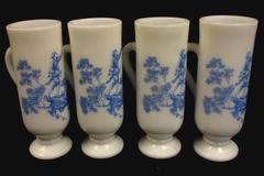 Set of 4 Vintage Avon Milk Glass Mugs With Blue Pastoral Scene Handle