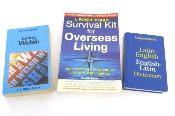 3 Books Survival Kit for Overseas, Living Latin-English Dictionary, Living Welsh