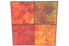 Square Tray Glass Leaf Design Red Orange Brown Flat Floral