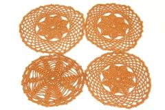 Lot of 4 Small Circle Doilies Brown Scalloped Edge Trivets Homemade Crochet