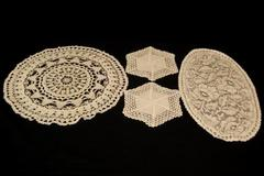 Lot of 4 Lace Doilies Ivory Scalloped Edges Floral Pattern White Crochet Knit