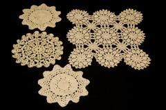 Lot of 4 Crochet Knit Doilies White Ruffle Scalloped Edges Floral Elegant