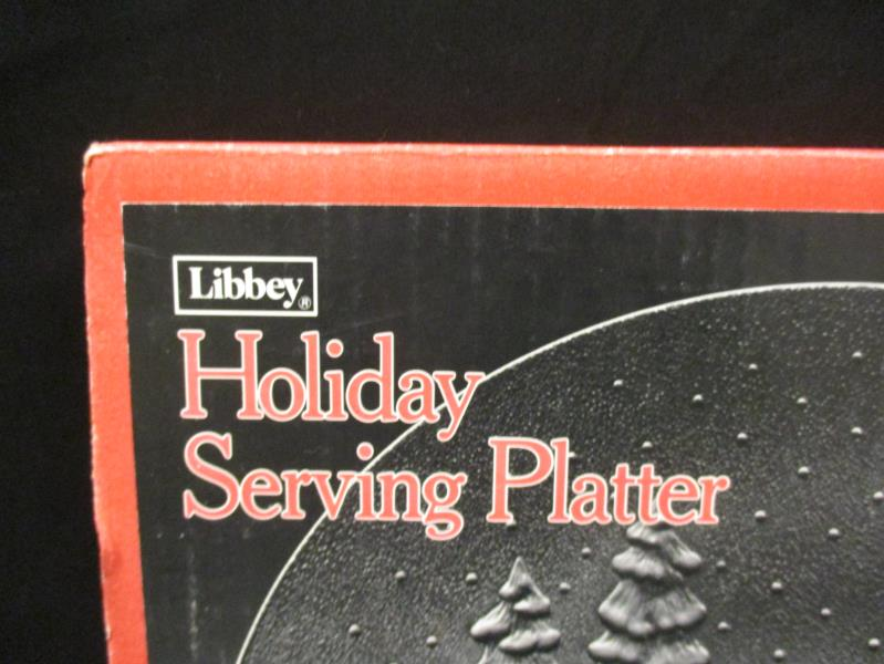 Vintage Libbey Holiday Xmas Serving Platter Plate 13 In Carolers Snowman Cookies
