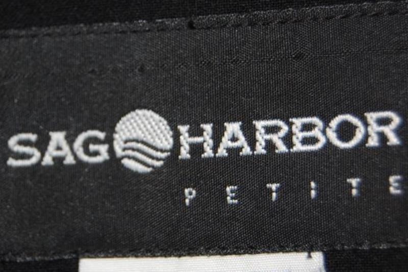 Sag Harbor Women's Black Blazer Jacket Size 8P Petites 3 Buttons Shoulder Pads