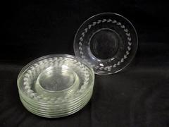 """8 Vintage Anchor Hocking Gray Cut Laurel Luncheon Plates Clear 8"""""""