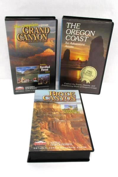Lot of 3 Travel Themed VHS Movies Holiday Bryce & Grand Canyon Oregon Coast