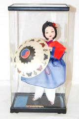 Vintage Geisha Doll With Umbrella Clear Display Box Black Hair Red Blue Dress