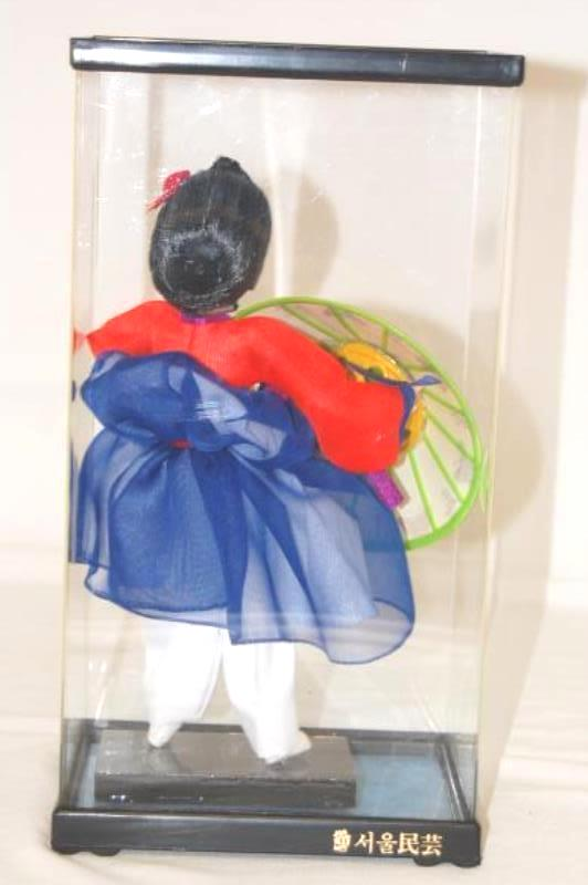 Vintage Geisha Doll With Umbrella Clear Display Box Black Hair Red Blue Dress