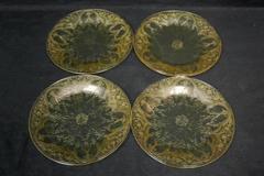4 Vintage Indiana Depression Glass Salad Plates Horseshoe Pattern Yellow 8.5 in