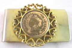 Vintage Money Clip With 1893 Indian Head Penny Hearts Gold Tone