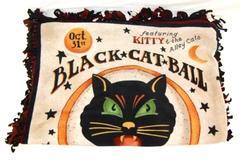 Halloween Fleece Throw Blanket Black Cat Ball Fall Tie Ends Brown Black