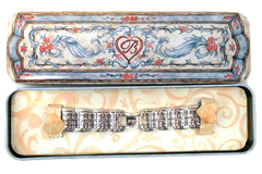 Brighton Watch Band Silver Toned Vine Pattern Tin Case Blue Floral