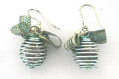 Christmas Ornament Holiday Earrings Green Bow Gold Accents Wire Dangle