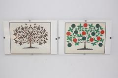 Lot of 2 Art Prints Trees Glass Covered Wall Hanging Decor 4 x 6 in