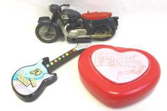 Lot of 3 Vintage Toys Musical Love Notes Russ Berries Guitar Motorcycle