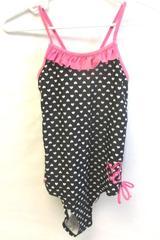 Girl's Heart Pattern One Piece Swim Suit Size 16 Black White Pink Ruffle