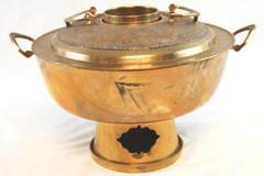 Vintage Brass Chafing Dish Dragon Embossed Lid Handles Korean