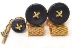 Dante Blue And Gold Tone Cuff Links And Tie Tack