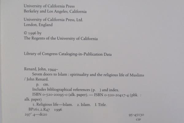 Seven Doors To Islam by John Renard 1996 Hard Cover Univ. of California Press